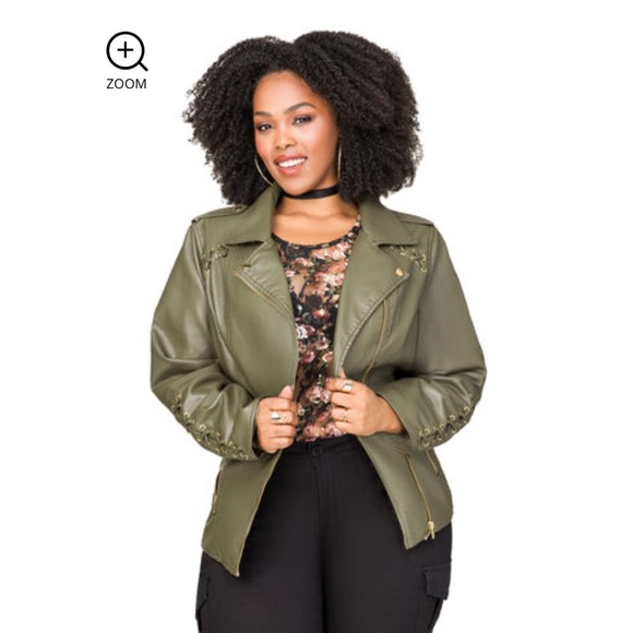 e0618fb9fae9c Olive Lace-Up Moto Leather Jacket. NWT. Ashley Stewart